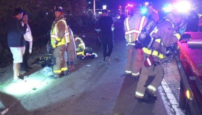 This was the chaotic scene on March 20 when an SUV carrying six people was hit from behind by a speeding car.