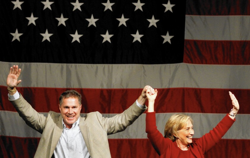 U.S. Rep. Bruce Braley (D-Iowa) gets former Secretary of State Hillary Rodham Clinton's help with his Senate campaign last week in Davenport, Iowa.