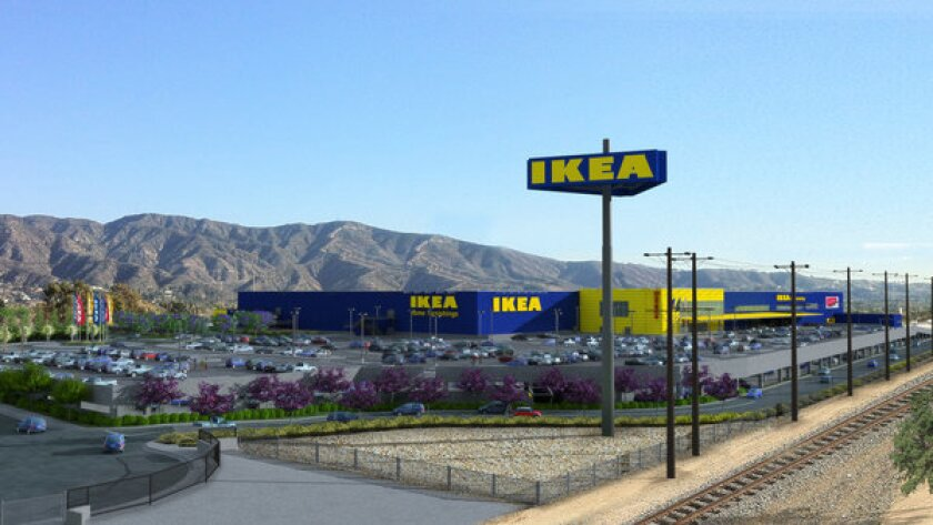An artist's rendering shows the new Ikea store in Burbank, which would be 470,000 square feet and include parking for 1,700 cars.