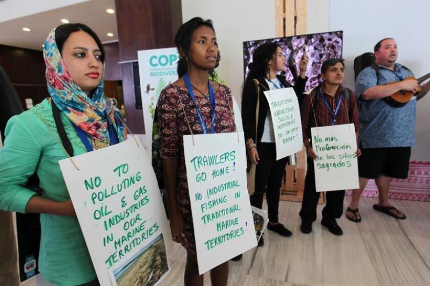 """Miembros del colectivo ICCAs Consortium (territorios y áreas conservadas por pueblos indígenas y comunidades locales) realizan un """"flashmob"""" (acción organizada en la que un gran grupo de personas se reúne en un lugar público y realiza un acto inesperado) hoy, jueves 15 de diciembre de 2016, durante una protesta en la ciudad mexicana de Cancún, en el marco de la Conferencia de las Partes del Convenio sobre Diversidad Biológica (COP13), donde exigieron la defensa de la conservación de la biodiversidad. EFE"""
