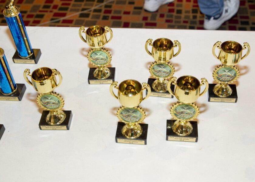 Pinewood Derby trophies