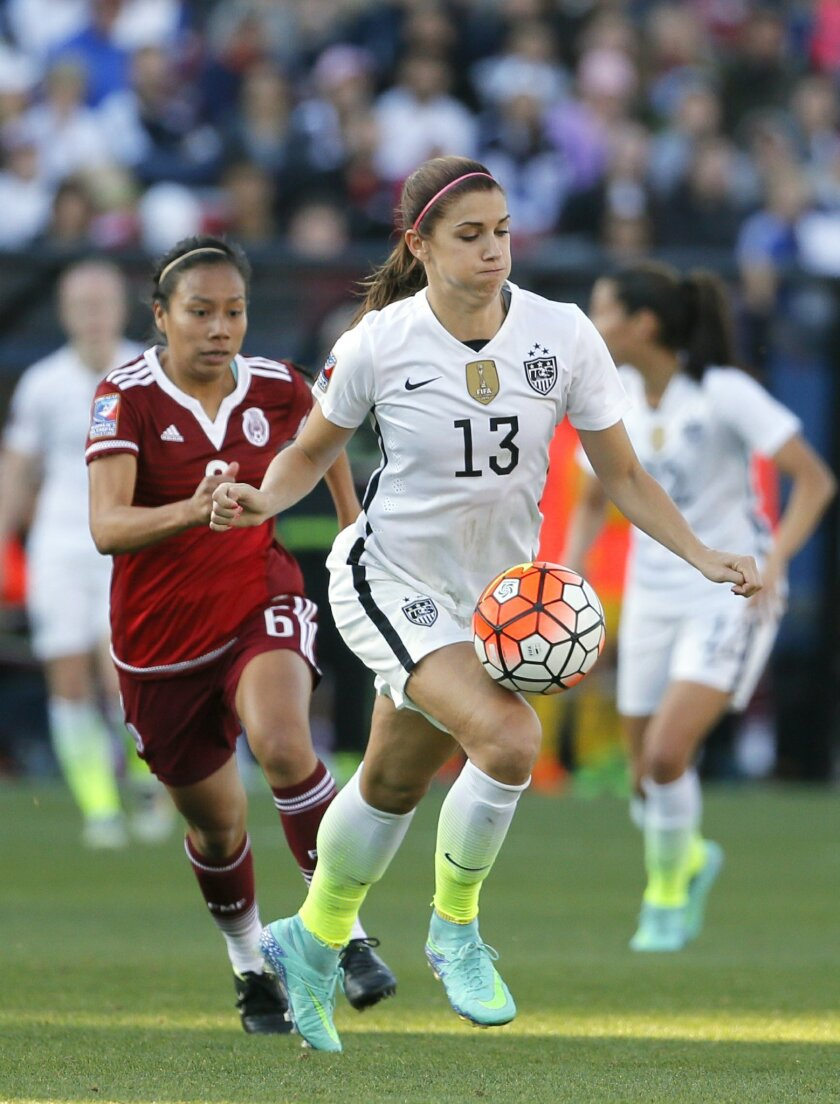 United States forward Alex Morgan (13) controls a pass in front of Mexico midfielder Karla Nieto (6) in the second half of a CONCACAF Olympic qualifying tournament soccer match, Saturday, Feb. 13, 2016, in Frisco, Texas. The U.S. won 1-0. (AP Photo/Tony Gutierrez)
