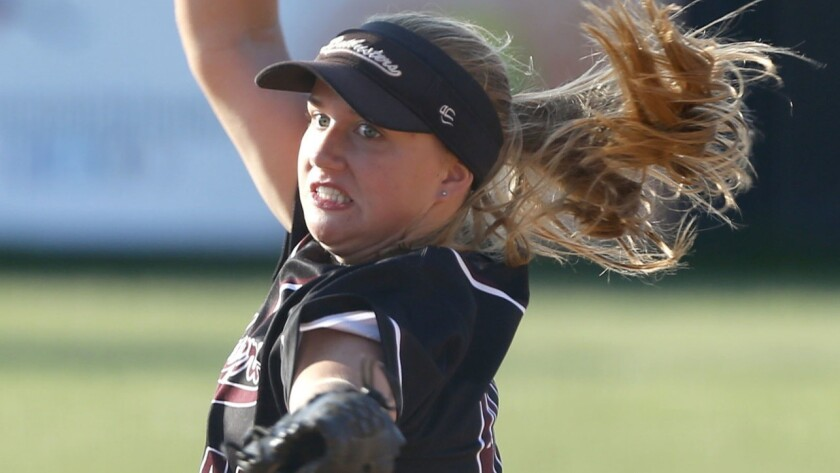 Orange County Batbusters pitcher Madi Elish delivers a pitch in the PGF Nationals 18U Premier division.
