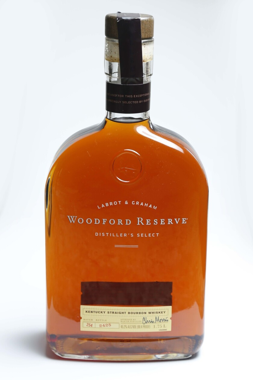Woodford Reserve Whiskey, part of Efren Agustin's collection of cocktail ingredients.