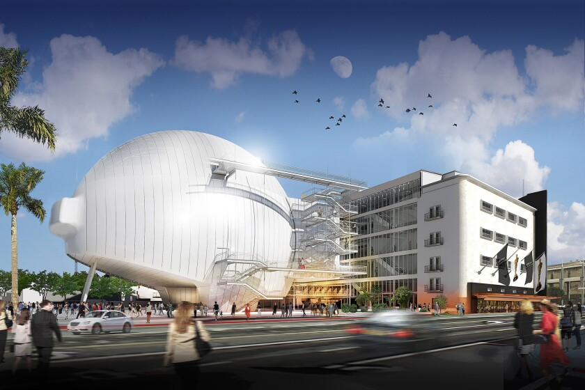 A rendering of the planned film academy museum, as seen from Fairfax Avenue.
