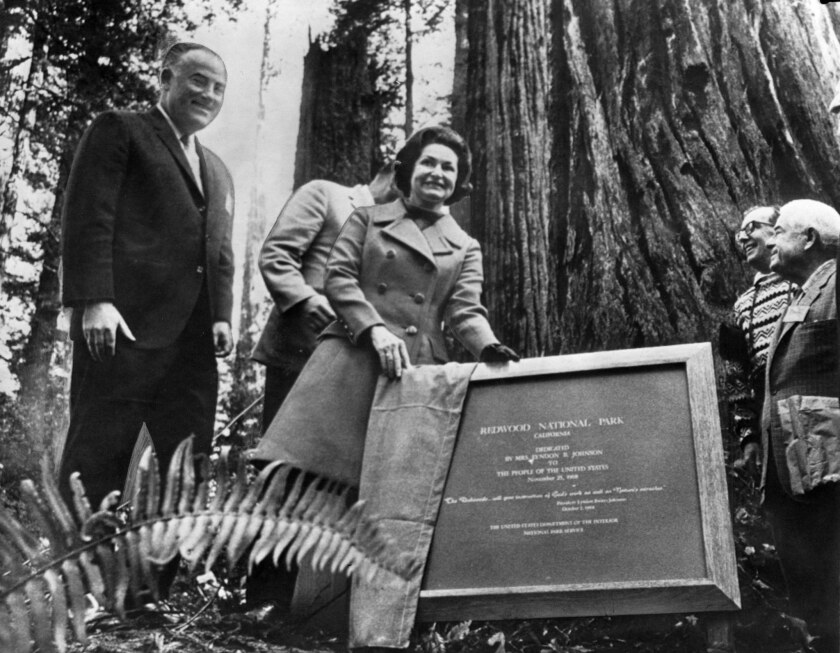 First Lady Lady Bird Johnson in 1968 unveils a plaque that marks a grove of trees bearing her name at Redwood National and State Parks north of Eureka.