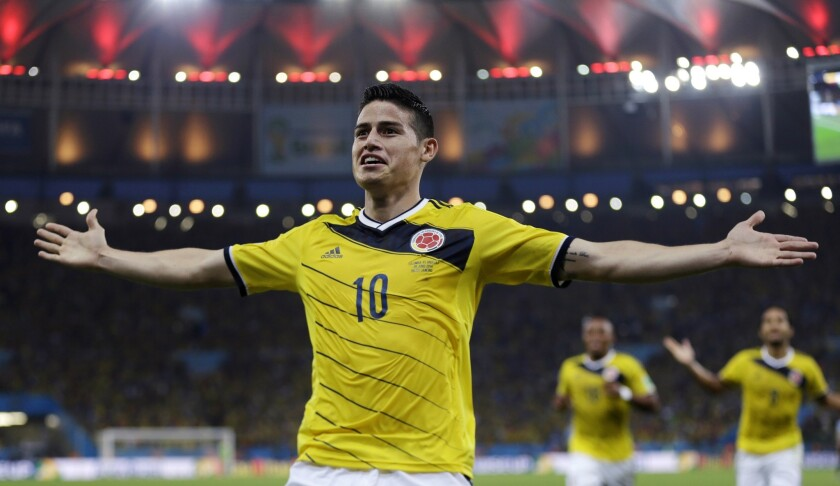 James Rodriguez, 22, leads all scorers with five goals in the World Cup for Colombia, which will play host Brazil in a quarterfinal match Friday.