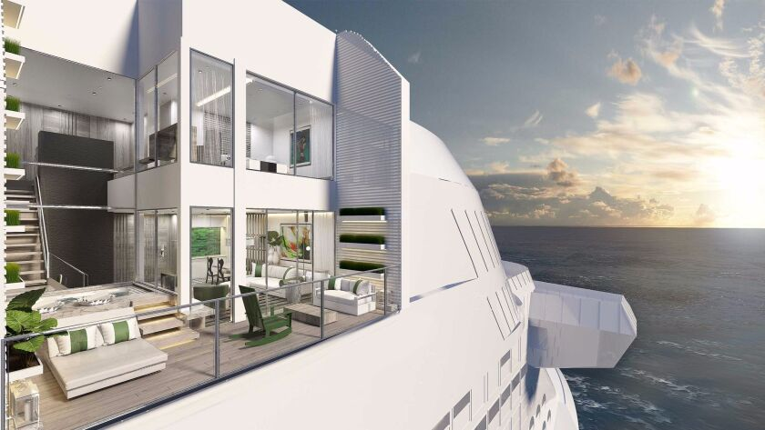 Two-level Edge Villas, shown in an artist's rendering, feature two stories of windows, an atrium stairway with terrace views and a plunge pool.