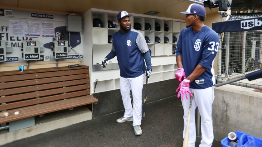 San Diego Padres Franmil Reyes, left, and Franchy Cordero walk out to batting practice before a game against the Rockies at Petco Park in San Diego on May 14, 2018. (Photo by K.C. Alfred/ San Diego Union -Tribune)