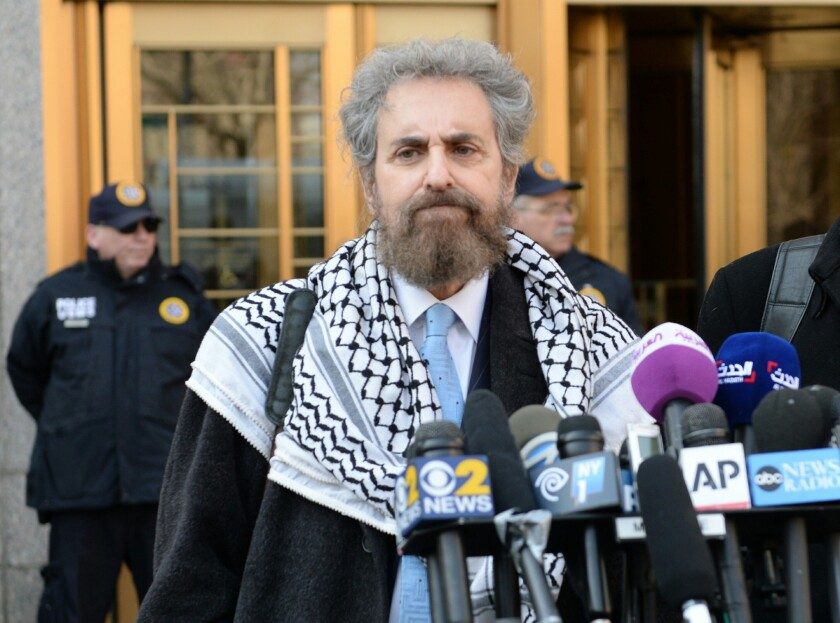 Defense attorney Stanley Cohen, attorney for Sulaiman abu Ghaith, answers questions from reporters outside Manhattan Federal Court on Wednesday.