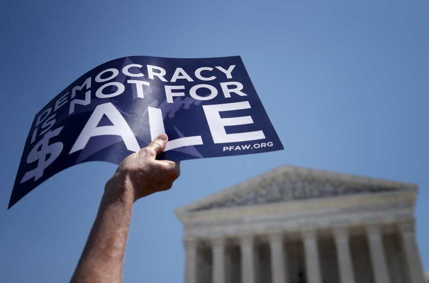 Protesters in opposition to Citizens United ruling outside U.S. Supreme Court