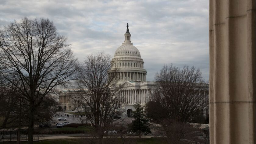 The Capitol is seen in Washington on March 6, as the Senate is preparing to roll back some of the safeguards Congress put into place after the financial crisis a decade ago.