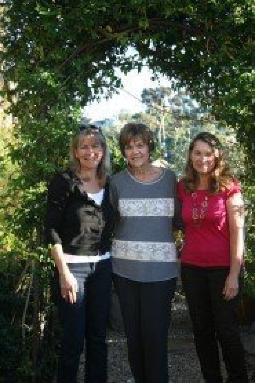 Solana Beach Garden Club members Katie Pelisek, Sandy Parish and Michele Stribling. Photo/Kristina Houck