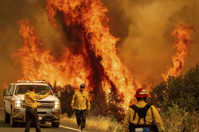 A fire rages in Lake County, California, in this photo from August 2020.
