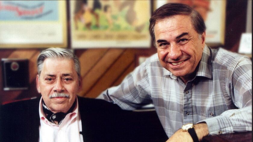 Scene from the movie The Boys: The Sherman Brothers' story. (LtoR) Robert B. Sherman and Richard M.