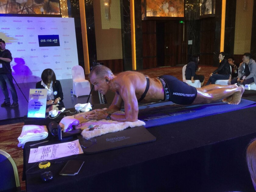 George Hood took second place in the World Cup Plank Challenge in Beijing on Saturday.