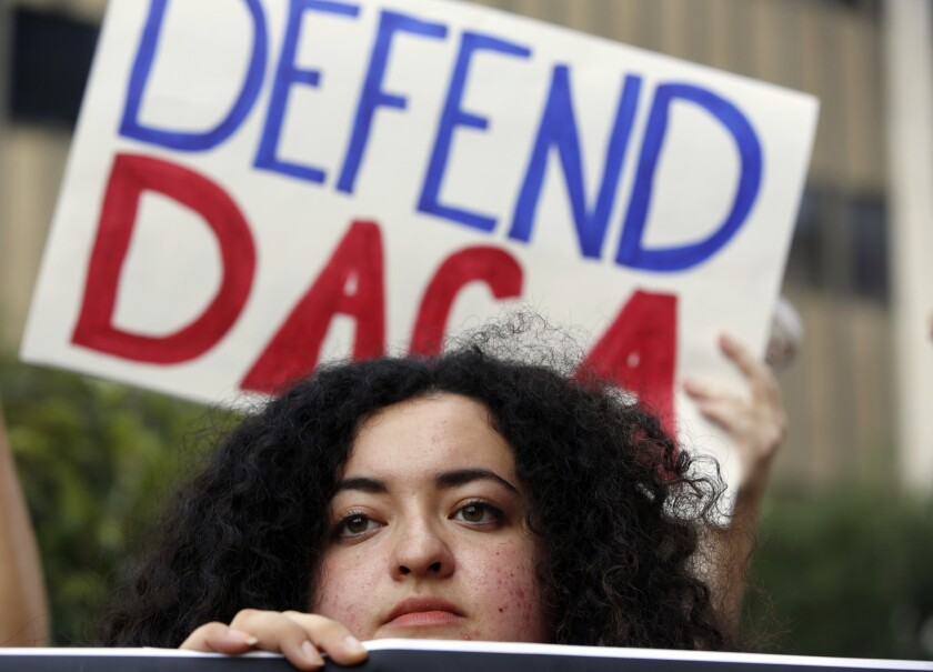 """Loyola Marymount University student and """"Dreamer"""" Maria Carolina Gomez joins a rally in support of DACA in Los Angeles in 2017."""