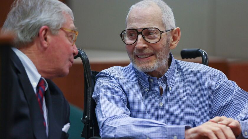 LOS ANGELES, CA, JANUARY 6, 2017: New York real estate scion Robert Durst has a lighter moment with