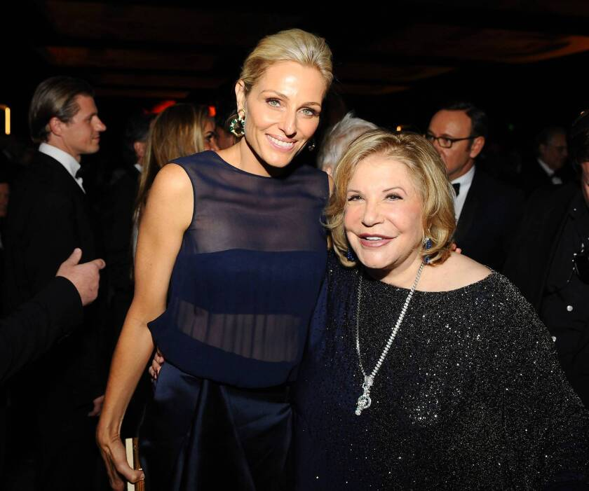 Co-chairs Jamie Tisch, left, and Wallis Annenberg attend the Wallis Annenberg Center for the Performing Arts Inaugural Gala presented by Salvatore Ferragamo at the Wallis Annenberg Center for the Performing Arts on Oct. 17, 2013, in Beverly Hills.