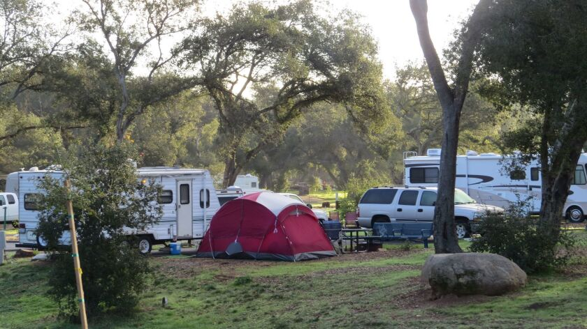 Several dozen campsites were occupied this weekend at Dos Picos County Park near Ramona, despite the cold weather.