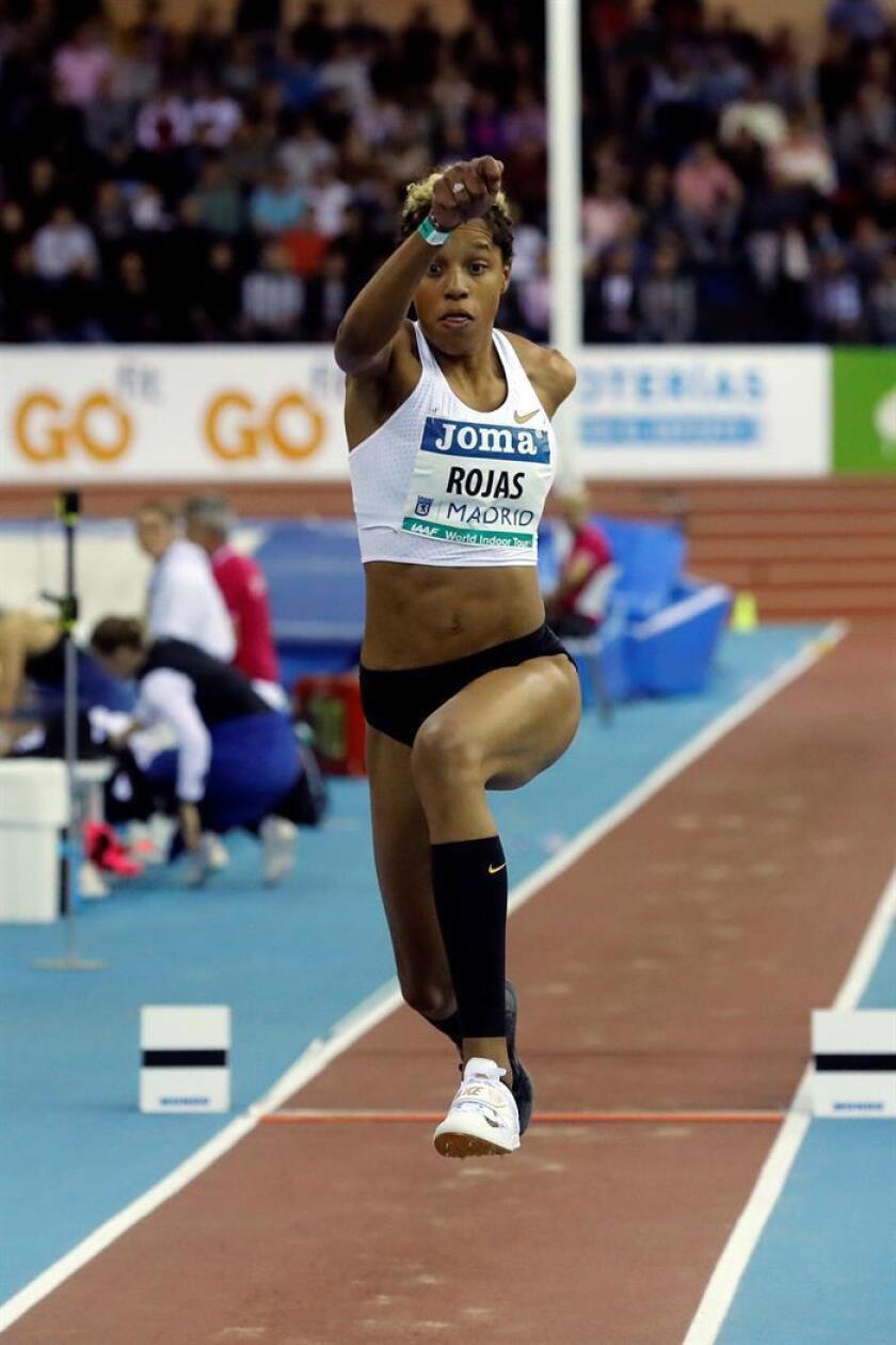 La atleta venezolana Yulimar Rojas durante el triple salto femenino del Meeting Villa de Madrid del World Indoor Tour, que se celebra esta tarde en el Polideportivo Gallur, en Madrid. EFE