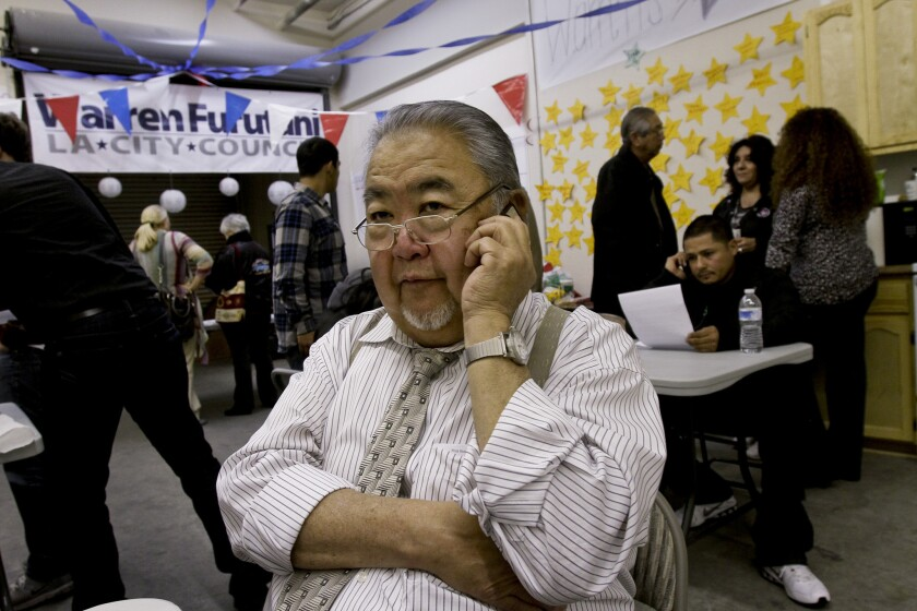 Warren Furutani, shown here in his unsuccessful 2012 run for Los Angeles City Council, authored an Assembly bill that allowed the Los Angeles Community College District Board of Trustees to eliminate runoff elections. That means a candidate can win a seat in the coming March 3 election even if a majority of voters want someone else.