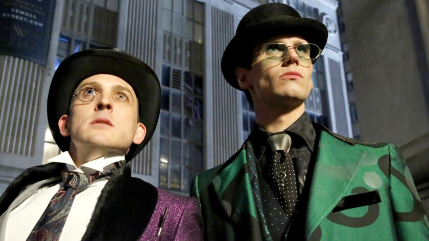 """Robin Lord Taylor and Cory Michael Smith in """"Gotham"""" on Fox."""
