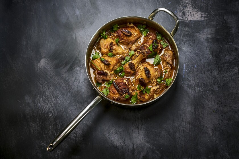 BOYLE HEIGHTS SEPT. 28, 2021: Spiced Coconut Chicken with Dates, Cinnamon and Crispy Shallots.