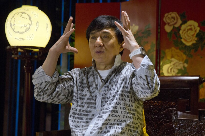 """Jackie Chan is shown in Beijing in 2015. His action-comedy """"Railroad Tigers"""" topped China's box office last week."""