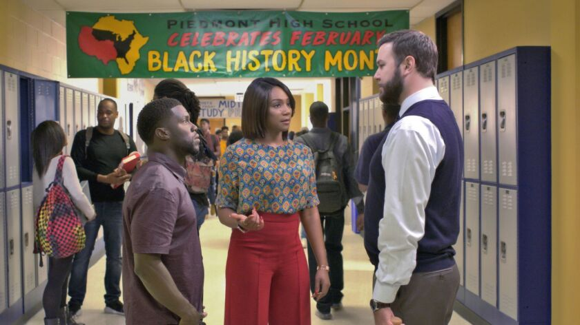 """Kevin Hart, left, Tiffany Haddish and Taran Killam star in """"Night School,"""" a new comedy from director Malcolm D. Lee (""""Girls Trip"""") that follows a group of misfits who are forced to attend adult classes in the long-shot chance they'll pass the GED exam."""