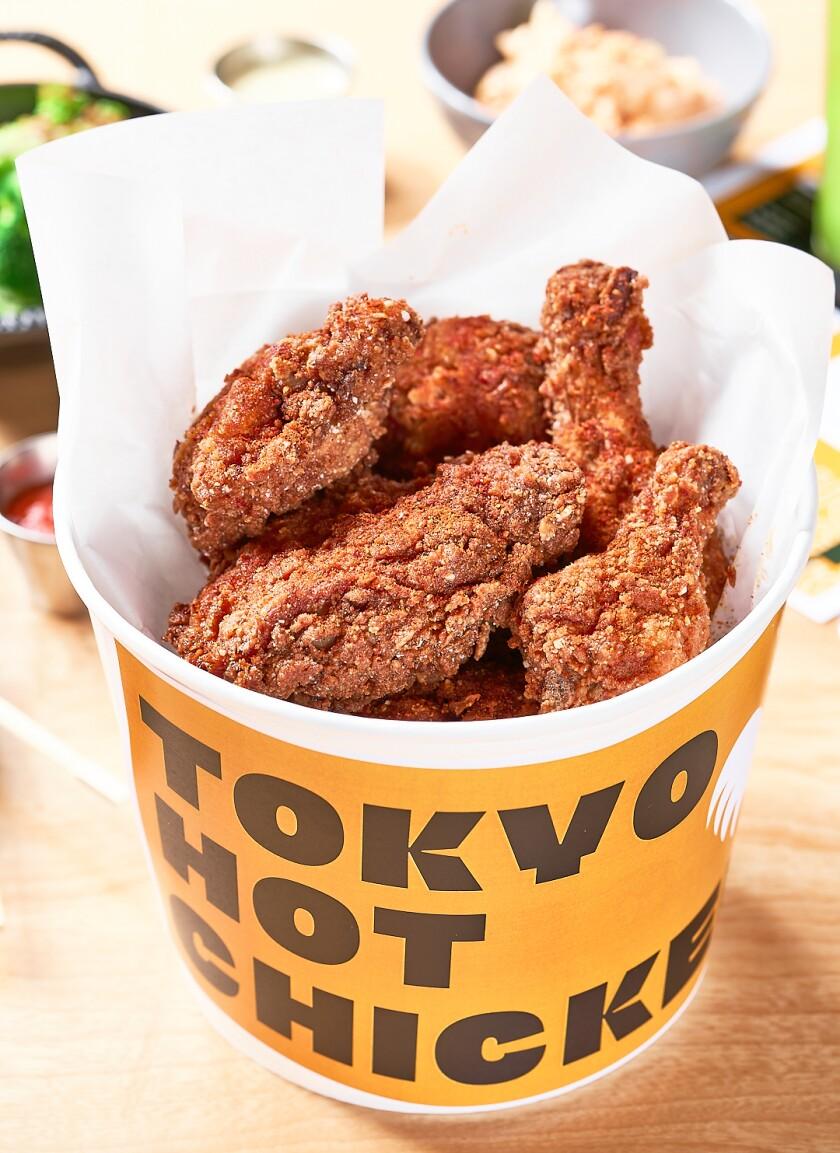 A bucket of chicken from Michael Mina's Tokyo Hot Chicken in Glendale.