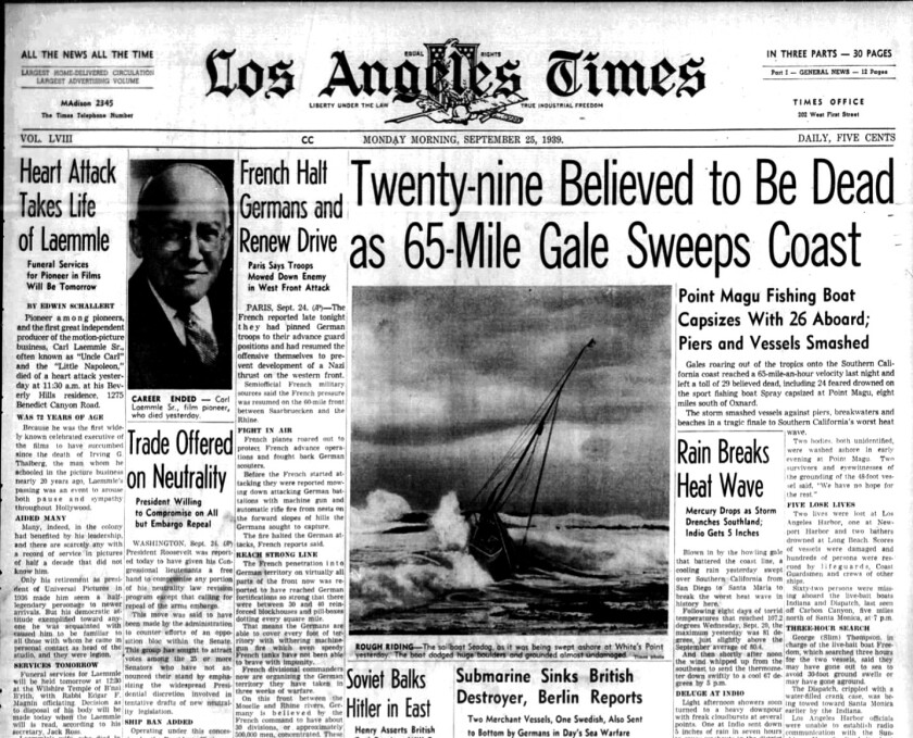 Los Angeles Times storm coverage