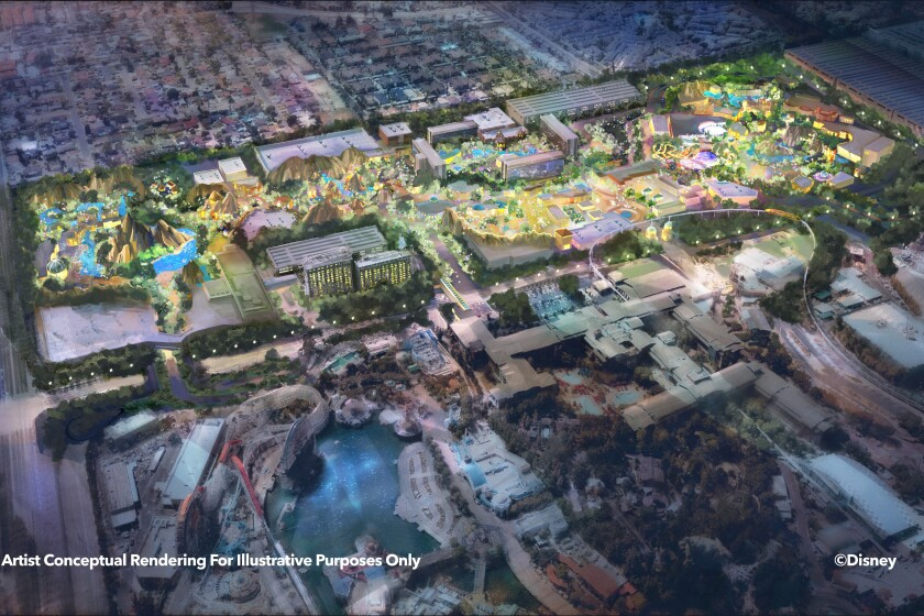 """Disney announced on Mar. 25, 2021 a plan to overhaul its Anaheim resort with new attractions, shops, restaurants and entertainment. This """"Westside"""" rendering shows what additions could be made around the resort's hotels. (Disney)"""