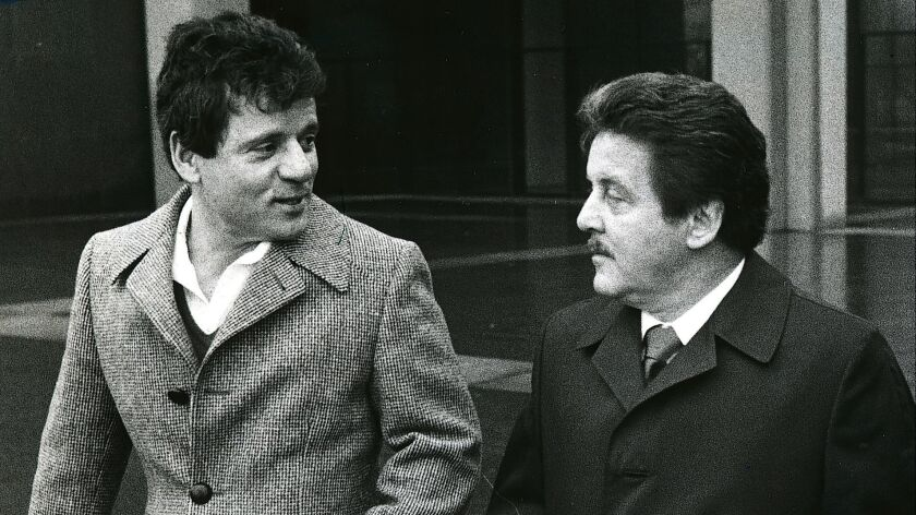 Mobster brothers Tony Spilotro, right, and Michael Spilotro leave Los Angeles County Superior Court in 1983.