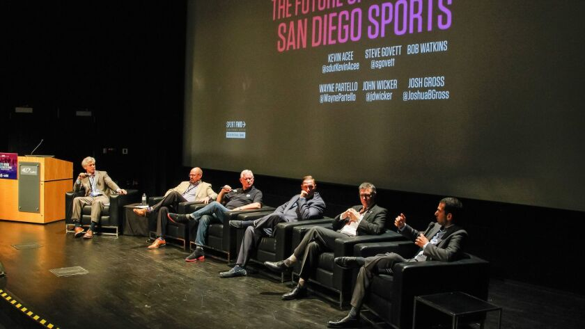 From left, Union-Tribune columnist Kevin Acee, Seals President Steve Govett, 1904 FC President Bob Watkins, Padres chief marketing officer Wayne Partello and San Diego State Athletic Director J.D. Wicker listen to Seals V.P. Josh Gross speak at the Sport FWD conference at UCSD.