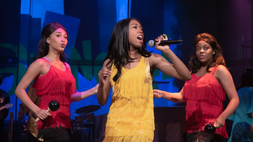 """Janae Parson, center, plays Tina Turner in San Diego Repertory Theatre's """"33-1/3 -- House of Dreams."""""""