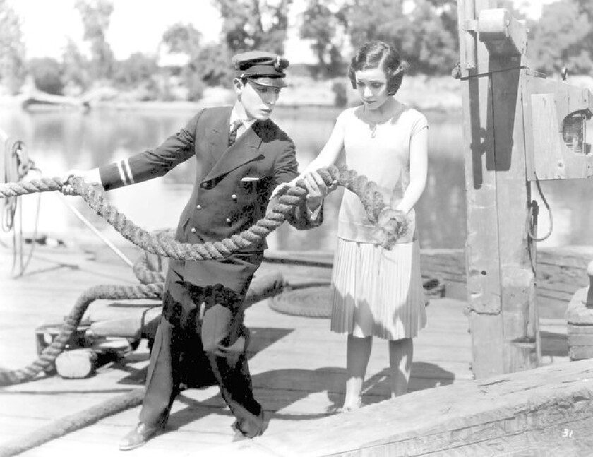 """Buster Keaton and Marion Byron in """"Steamboat Bill, Jr."""""""