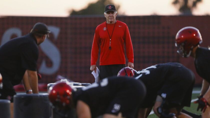 San Diego State head coach Rocky Long watches the Aztecs during this week's fall camp.