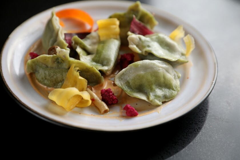 Vegan garden dumplings at Ms. Chi