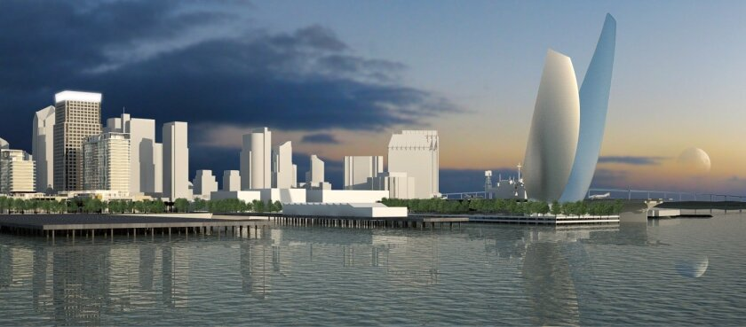 "The ""Wings of Freedom"" pair of sail-like structures would be located at the foot of Navy Pier and next to the USS Midway Museum. A parking garage, amphitheater and park also are planned on the pier."