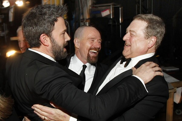 """""""This is the pinnacle of my career,"""" said Bryan Cranston, center, with Ben Affleck, left, and John Goodman. """"In my eventual obit -- I hope many many years from now -- it will read, ' """"Breaking Bad"""" actor explodes,' or whatever it says. And I'm very proud of that."""""""