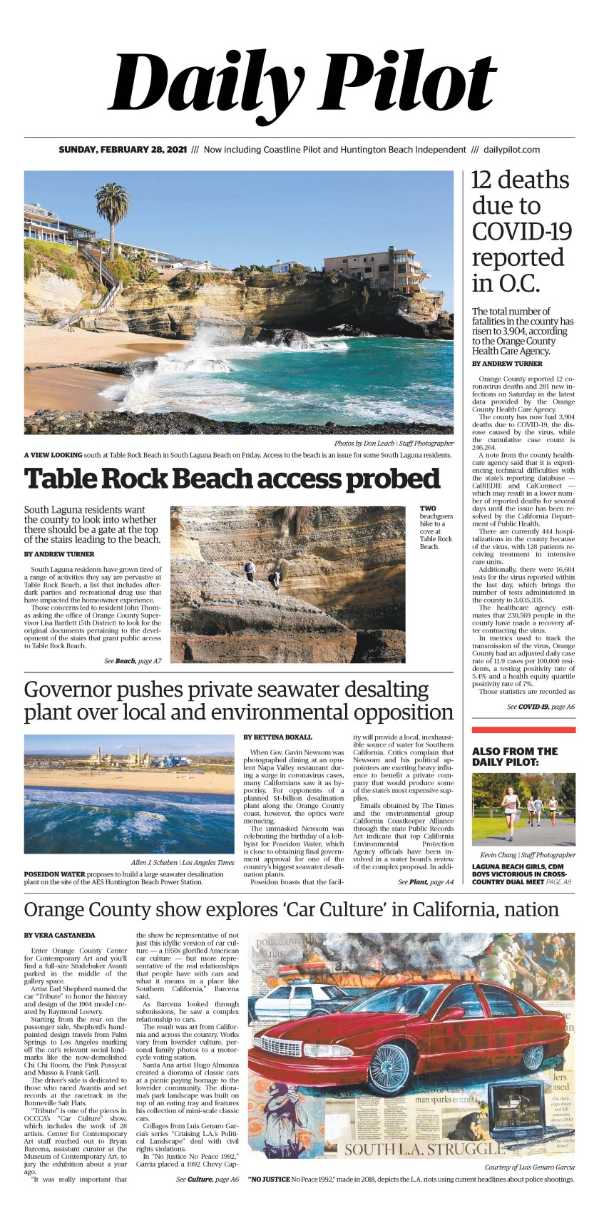 Front page of Daily Pilot e-newspaper for Sunday, Feb. 28, 2021.