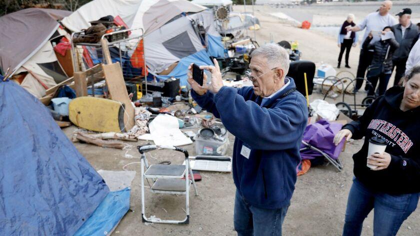 ANAHEIM, CALIF. -- WEDNESDAY, FEBRUARY 14, 2018: U.S. District Judge David Carter surveys the homele