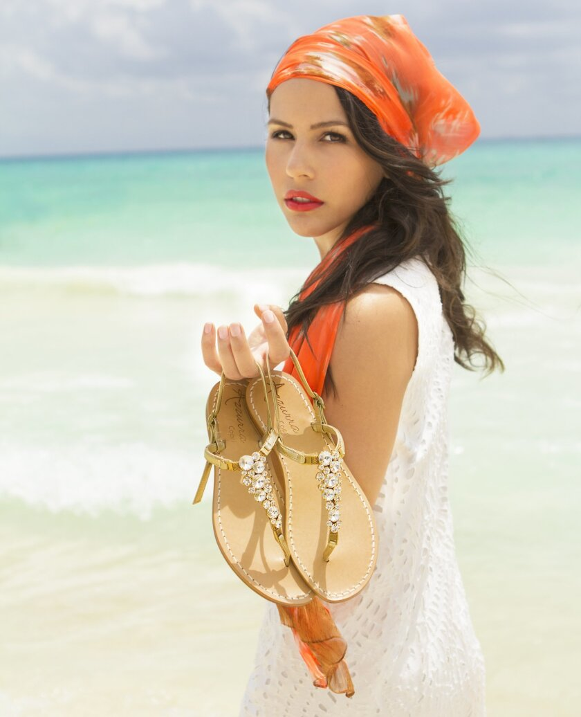 Diana Carolina, a former student of All Hallows Academy and owner of Azzura Capri luxury women's sandals and clothing boutique, is opening a location in the La Plaza La Jolla boutique shopping complex.