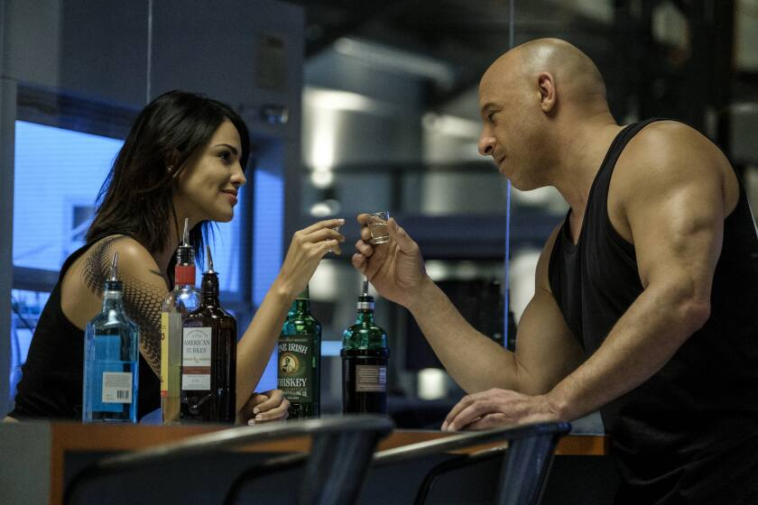 "Eiza Gonzalez and Vin Diesel in Columbia Pictures' ""Bloodshot."""