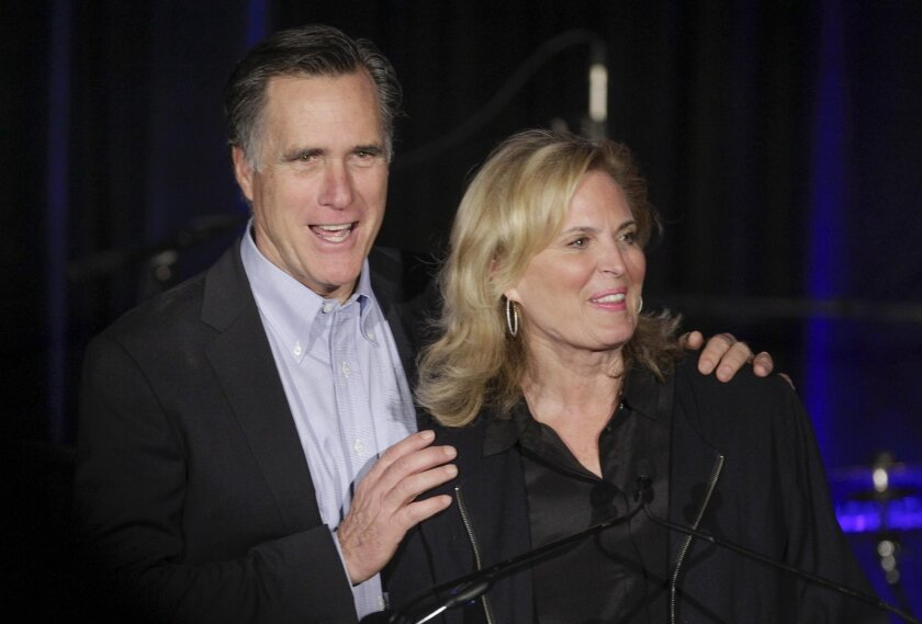 Mitt Romney, the 2012 Republican nominee for President, and wife Ann Romney on stage.