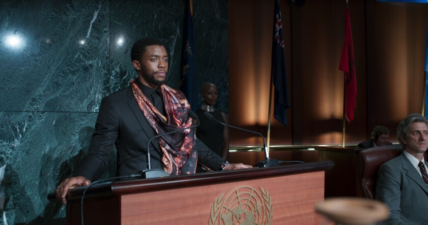 "T'Challa (Chadwick Boseman), the king of Wakanda, in a scene from ""Black Panther."""