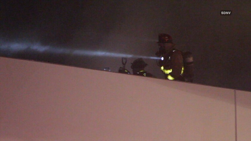 A warehouse building in the Miramar area was damaged by a two-alarm fire early Wednesday morning.