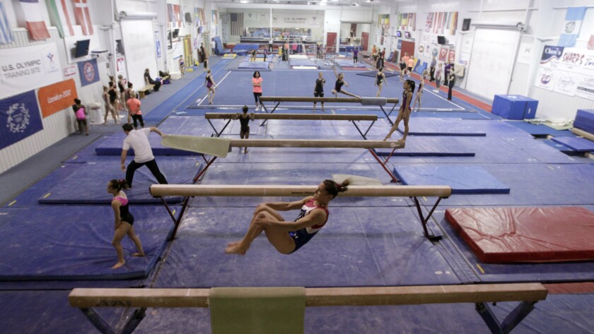 Members of the U.S. national women's gymnastics team and invited guests take part in a training session at Karolyi Ranch.