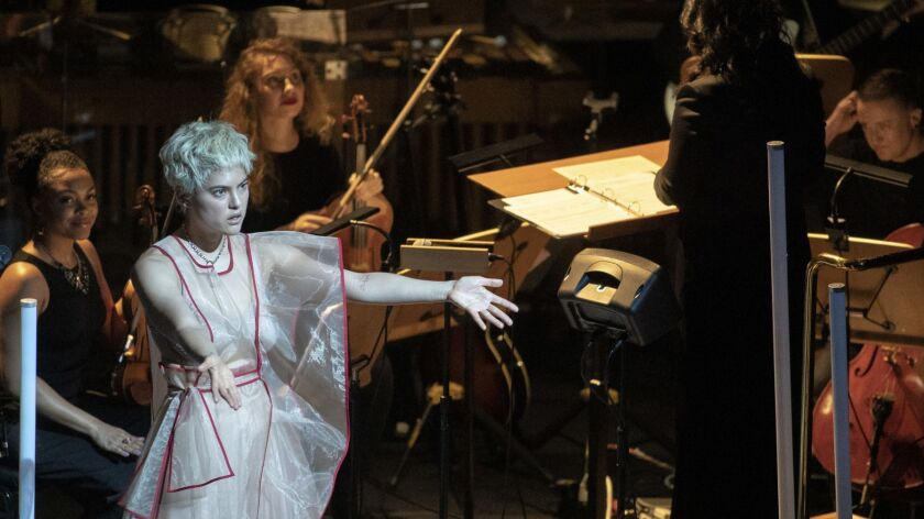"""As part of LA Phil's Fluxus festival, Miya Folick performs Yoko Ono's """"Soul Got Out of the Box"""" in a"""
